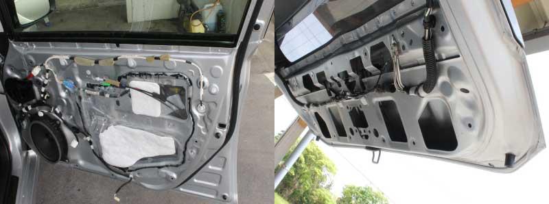 ドア内部とトランクフードの防錆